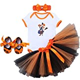 Baby Girls 1st Halloween Party Outfits Costumes Newborn Infant Toddlers Pumpkin Skull Witch Print Tutu Rompers Dress with Headband Shoes Children Photo Shoot Clothes 0-18 Months