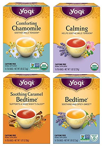 Yogi Tea Bedtime Variety Pack - Organic Herbal Tea In Four Calming Flavors - 16 Tea Bags Each (Pack of 4) - Yogi Caffeine Free Tea