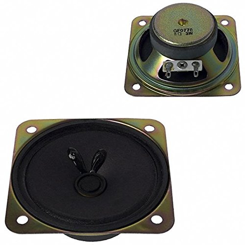 Speakers & Transducers speaker, 77 mm square, 24 mm deep, paper, ferrite, 3 W, 8 O, 310 Hz, solder eyelets (10 pieces)