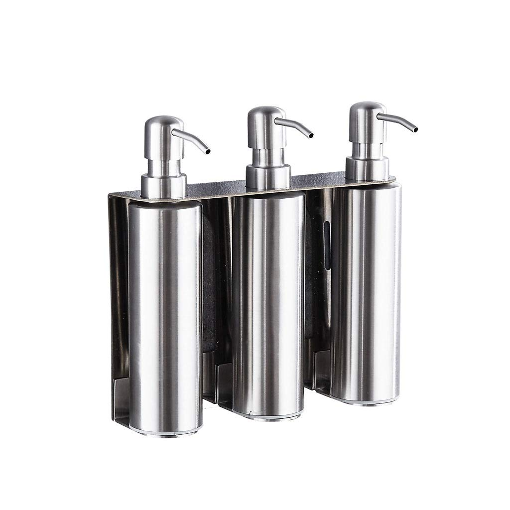 YSXZM Soap Dispenser, 600ml Wall-Mounted Three Chamber 304 Stainless Steel Brushed Hotel Bathroom for Shampoo Gel Shower Box