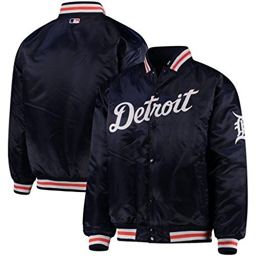 VF Detroit Tigers MLB Majestic Mens Navy Blue Satin Jacket Big & Tall Sizes (3XL)