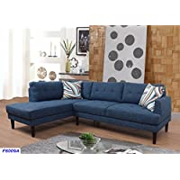Beverly Fine Furniture SH6009A Emeral Left Facing Linen Sectional Sofa, Midnight Blue