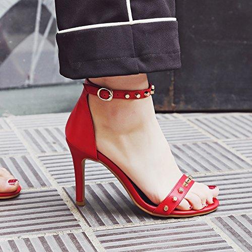 Rivetti Estate Il Alla Cinturino In Womens Rosso Aiweiyi Con Sandali Cinturino Tacco Alto Spillo Caviglia RzA47nA
