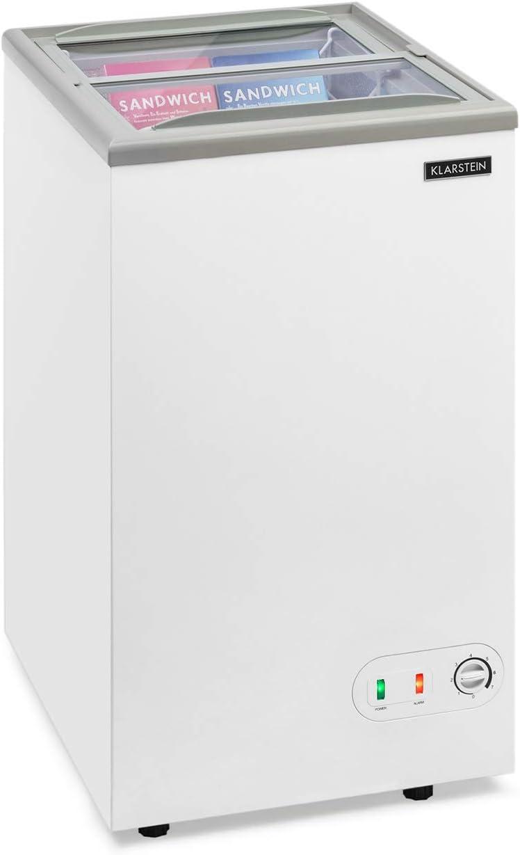 KLARSTEIN Pro Eispalast - Congelador con tapa corrediza de vidrio, 60 L, catering, comercial, snack bar, 47,5 x 84 x 55 cm, congelador, puerta corrediza de vidrio, cesta colgante, blanco