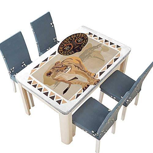 PINAFORE Polyester Tablecloth Table Cover Cadre de l'Afrique avec des de Lion et le Masque for Dining Room W57 x L96.5 INCH (Elastic Edge) ()