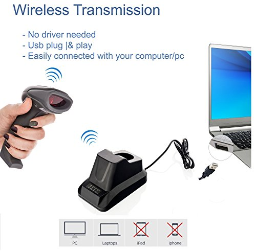 LS-PRO Wireless Barcode Scanner with USB Cradle Receiver Charging