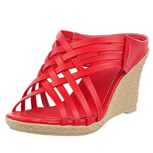 Zanpa Mujer Mode Tacon de Cuna Mules Sandales Rojo