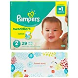 Pampers Swaddlers Size 2 Diapers (29ct) Bundle with Honest Company Baby Wipes (10ct)