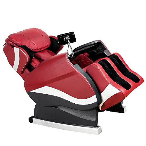 Merax Full Body Massage Recliner Chair 8-Massaging Programs Electric Leather Lounge Chair Massage Chair, Red (Chair Body Full Massage)