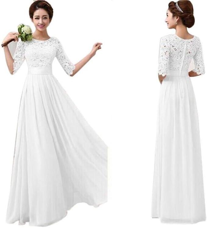 Ansenesna Kleid Damen Sommer Lang Elegant Cocktailkleid Chiffon Spitze Hochzeit Brautjungfer Festlich Weiss Amazon De Bekleidung