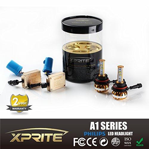 Xprite A1 Series 9007 (HB5) - 120w 12000Lm Philips Luxeon LED Fog Light Bulbs w/ Quartz Glass 3K (Amber) 6K (White) 8K (Ice Blue) Temperature Tubes Kit