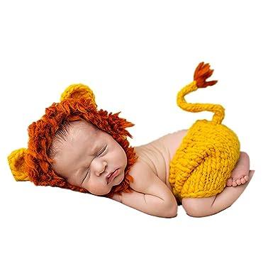 YICANG Bebé pequeño león Ropa recién Nacido Ganchillo Punto Animal ...