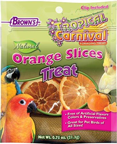 Browns Tropical Carnival Natural (F.M. Brown's Tropical Carnival Natural Orange Slices Pet Bird Foraging Treat, Sun-Ripened, USA Harvested, 100% Edible, Natural Vitamin C, 0.75oz)