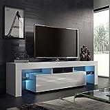 High Gloss 51''LED Light Shelves TV Stand Fashionable Design Home Living Room TV Cabinet TV Stand White