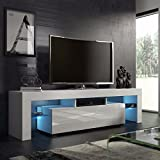 Graspwind High Gloss 51LED Light Shelves TV Stand Fashionable Design Home Living Room TV Cabinet TV Stand White