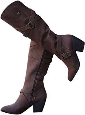 Womens Pull On Fur Trim Top Motorcycle Knee High Boots High Heel Lace Up Shoes