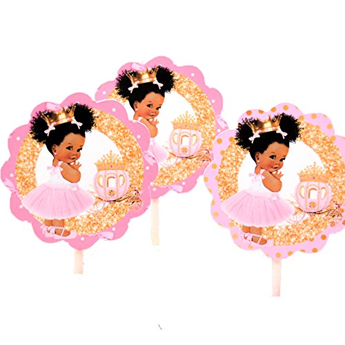 - African American Princess Cake Toppers, Princess Cupcakes, Princess Birthday Cake Toppers set of 12
