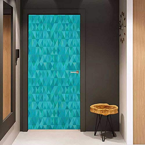Onefzc Door Wall Sticker Teal Geometrical Shapes Triangles Squares Modern Abstract Art Different Shades of Blue Mural Wallpaper W30 x H80 Turquoise - Tiger Aqua Raiders