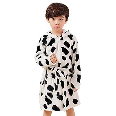 HAIVIDO Kids Boys&Girls Robes Cute Cartoon Hooded Bathrobes with Two Pockets Flannel Sleepwear Robes Milk Cow&Bear Pattern