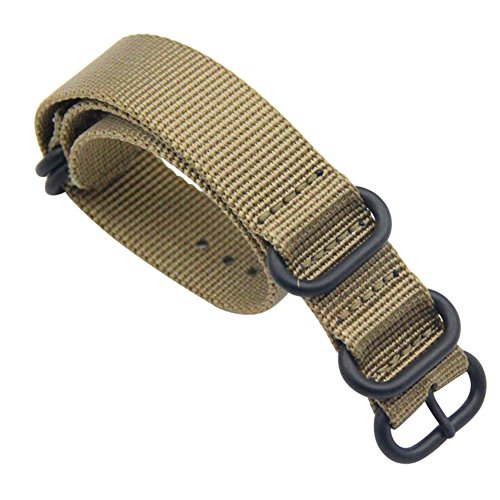 Ballistic Nylon Watch Strap Replacement with Stainless Steel Buckle Khaki 18MM (Buckle Khaki)