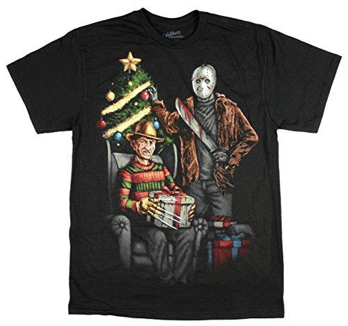 Christmas Freddy Krueger & Jason w/ a Christmas Tree Black Graphic T-Shirt - Medium