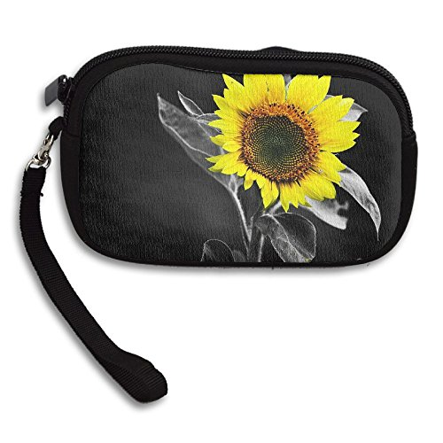 Color Small Receiving Deluxe Black Printing Portable Purse Bag And Yellow White Sunflower cSp1qfIf