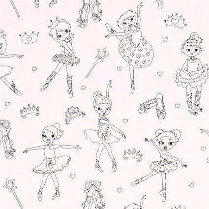Tela Colorear Dibujo Bailarina Ballet De Michael Miller