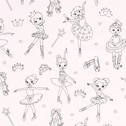 Tela colorear dibujo bailarina ballet de Michael Miller: Amazon.es ...