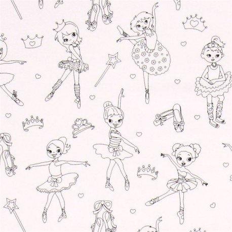 Tela Colorear Dibujo Bailarina Ballet De Michael Miller Amazones