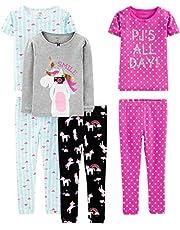Simple Joys by Carter's Girls' Toddler 6-Piece Snug Fit Cotton Pajama Set, Owl/Panda/Dot, 4T