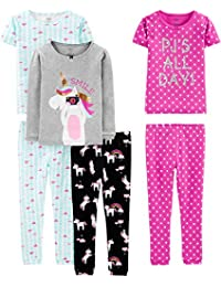 Baby, Little Kid, and Toddler Girls' 6-Piece Snug Fit Cotton Pajama Set