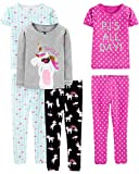 Apparel : Simple Joys by Carter's Baby, Little Kid, and Toddler Girls' 6-Piece Snug Fit Cotton Pajama Set