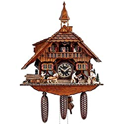 Anton Schneider Cuckoo Clock Black Forest house with 2 moving wood choppers and mill wheel