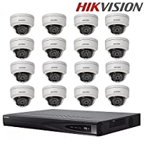 Hikvision Surveillance System 16CH 16POE NVR DS-7616NI-E2/16P Embedded Plug & Play NVR + DS-2CD2142FWD-I 4MP WDR Fixed Dome IP Camera POE CCTV Camera + Seagate 4TB HDD (16 Channel + 16 Camera)