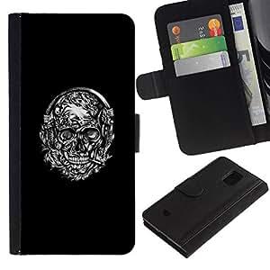 All Phone Most Case / Oferta Especial Cáscara Funda de cuero Monedero Cubierta de proteccion Caso / Wallet Case for Samsung Galaxy S5 Mini, SM-G800 // Floral Black White Smoking Skull