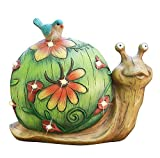 Garden Statue Snail Figurine - Solar Powered LED Lights for Indoor Outdoor Fall Decor for Halloween, Garden Lawn Yard Decorations, 10 x 8.5 Inch, Housewarming Gift