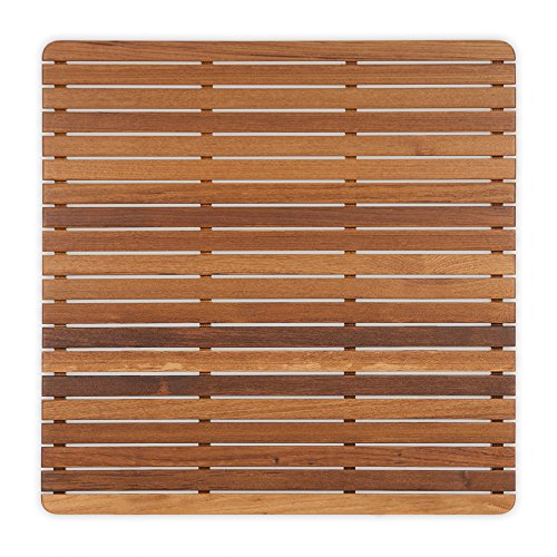 Teak Shower/Bath Mat with Rounded Corners (30'' x 30'') by Teakworks4u