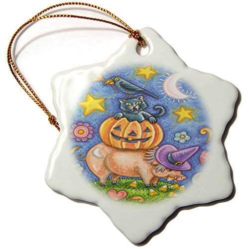 Christmas Ornament Anne Marie Baugh - Halloween - Cute Halloween Pig Eating Candy Corn With A Pumpkin, Cat, and Crow - Snowflake Porcelain Ornament