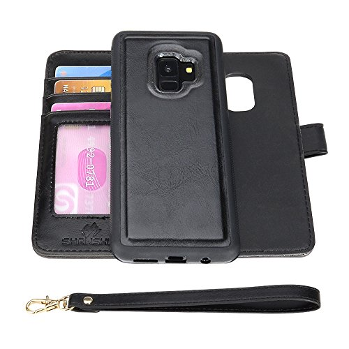SHANSHUI Wallet Case Compatible Galaxy S9, [Wrist Strap] Luxury PU Leather Wallet Flip Protective Case Cover with Credit Card Holder (Black) Review