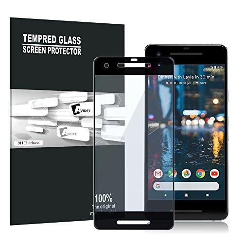 Google Pixel 2 Screen Protector, AVIDET Full Screen Coverage, Premium Tempered 3D Glass Screen Protector for Google Pixel 2 (9H Hardness 0.3mm)(Black)