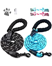 Dog Leashes,2 Pack Heavy Duty 5FT Dog Leash Chew Proof and Reflective Rope with Foam Handle for Large Dogs,Medium Dogs-Lnichot(Black Blue)