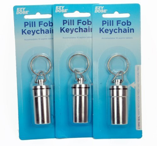 Metal Moisture Free Airtight Pill Fob Holder Med Rx Box Keychain Triple Thre