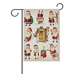 """ALIREA Set of Christmas Santa Clauses Polyester Garden Flag Outdoor Flag Home Party Garden Decor, Double Sided, 28"""" x 40"""""""