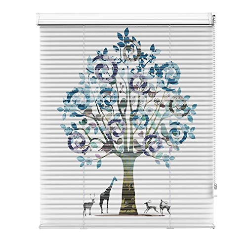 AQAWAS Cordless Blinds for Windows, Pull Beads, Zebra Roller Blinds Easy Install, Horizontal Privacy Shade Shades Cordless Window for Home Office,Big Tree_31x72in/80×182.5CM