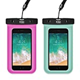 YOSH Waterproof Phone Pouch Universal Waterproof Phone Case Cell Phone Dry Bag Pouch Compatible iPhone X/8/7/6/6S Plus 5S/5C Galaxy S9/S8/S7 Edge Note 5/4 Google Pixel 2 up to 6.0'' (Green,Pink)