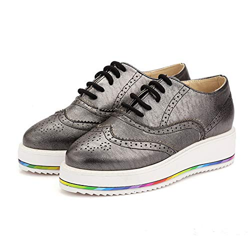 UK MMS06344 1TO9 Urethane Platform Shoes Womens Pleated Walking 4 Tooth Hounds Silver rwBPTzxrpq