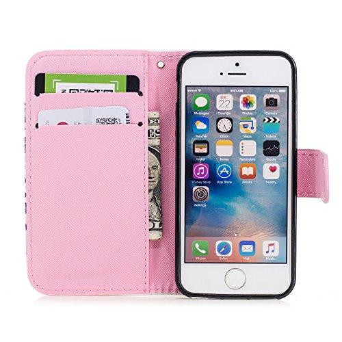 Funda iPhone SE / 5S, Alfort 3 en 1 Carcasa iPhone 5 Cascara de Piel Pintada Cover la Cubierta del Cuero Moda Case con Soporte Plegable y Ranura de Tarjeta ( Líneas ) Unicornio Caramelo