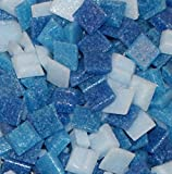 "Hakatai Glass Mosaic Tile 3/8"" – ½ Pound Cyan Blue Blend Assortment"