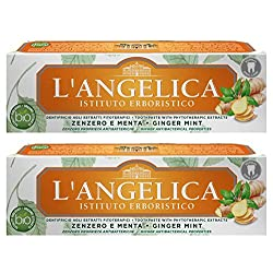 L'Angelica: Toothpaste with Phytotherapic Extracts, with Ginger and Mint - 2.53 Fluid Ounces (75ml) Tubes (Pack of 2) [ Italian Import ]