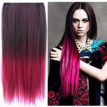 Amazon uniwigs ombre dip dye color clip in hair extension uniwigs ombre dip dye color clip in hair extension 60cm length black to red straight pmusecretfo Image collections